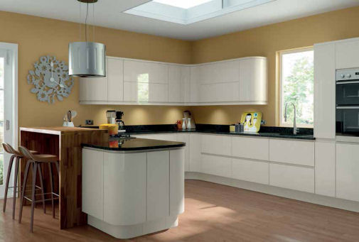 Gloss Cream Handleless Kitchen Doors Cream Gloss
